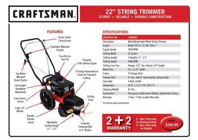 CraftsmanStringTrimmerFeaturesSpecs